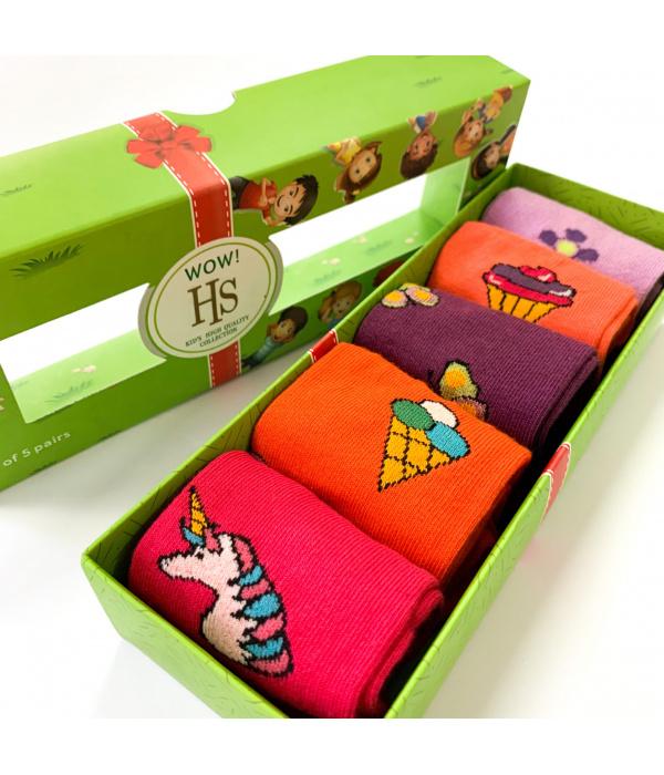 Детски женски чорапи во кутија - WOW